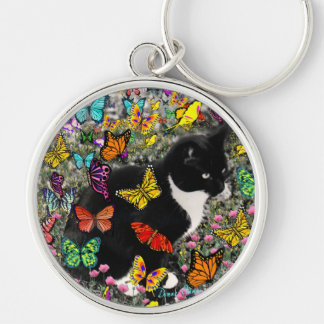 Freckles in Butterflies - Black & White Tux Cat Silver-Colored Round Key Ring
