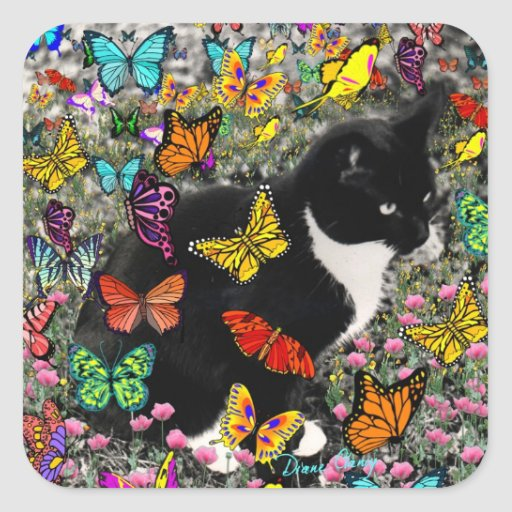 Freckles in Butterflies - Black & White Tux Cat Stickers