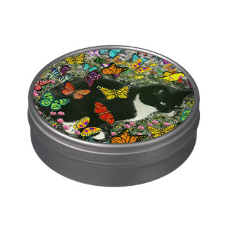 Freckles in Butterflies I, Tux Kitty Cat Jelly Belly Tin