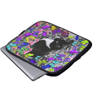 Freckles in Butterflies II - Black White Tux Kitty Computer Sleeve