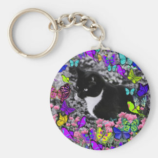 Freckles in Butterflies II - Tuxedo Cat Basic Round Button Key Ring
