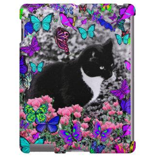 Freckles in Butterflies II - Tuxedo Cat iPad Case
