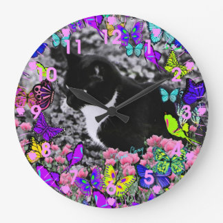 Freckles in Butterflies II - Tuxedo Cat Clock