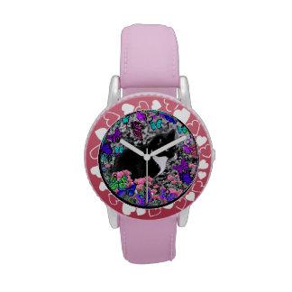 Freckles in Butterflies II - Tuxedo Cat Wrist Watch