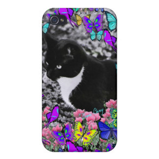 Freckles in Butterflies II - Tuxedo Cat Cases For iPhone 4