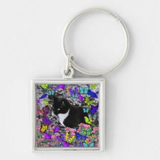 Freckles in Butterflies II - Tuxedo Cat Key Ring