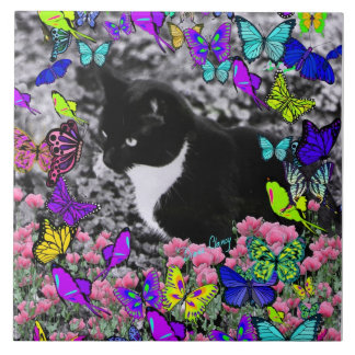 Freckles in Butterflies II - Tuxedo Cat Large Square Tile