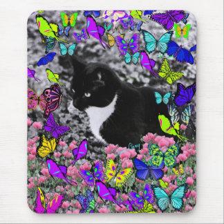 Freckles in Butterflies II - Tuxedo Cat Mousepad