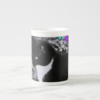 Freckles in Butterflies II - Tuxedo Cat Bone China Mug