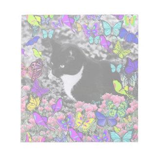 Freckles in Butterflies II - Tuxedo Cat Note Pad