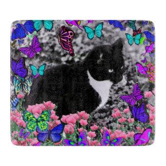 Freckles in Butterflies III, Tux Kitty Cat Cutting Boards