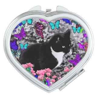 Freckles in Butterflies III, Tux Kitty Cat Vanity Mirror