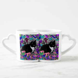 Freckles in Butterflies III, Tux Kitty Cat Lovers Mug