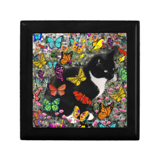 Freckles in Butterflies - Tux Kitty Cat Small Square Gift Box