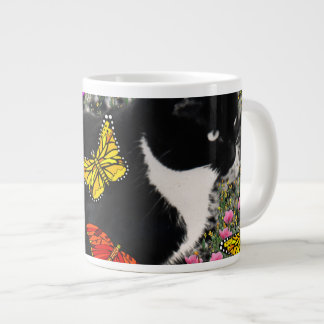Freckles in Butterflies - Tux Kitty Cat Large Coffee Mug