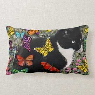 Freckles in Butterflies - Tux Kitty Cat Lumbar Cushion