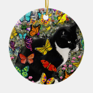 Freckles in Butterflies - Tuxedo Kitty 2 sides Round Ceramic Decoration
