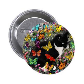 Freckles in Butterflies - Tuxedo Kitty 6 Cm Round Badge