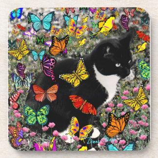 Freckles in Butterflies - Tuxedo Kitty Drink Coasters