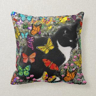 Freckles in Butterflies - Tuxedo Kitty Cushions