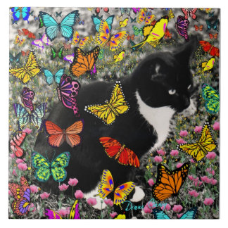 Freckles in Butterflies - Tuxedo Kitty Large Square Tile