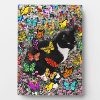 Freckles in Butterflies - Tuxedo Kitty Plaque
