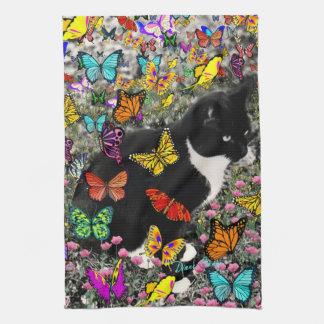 Freckles in Butterflies - Tuxedo Kitty Kitchen Towel