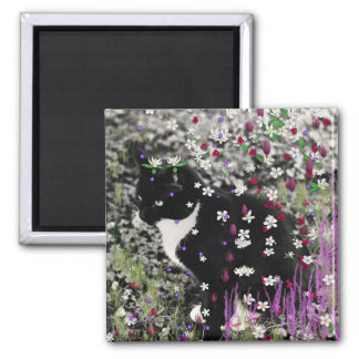 Freckles in Flowers I - Black and White Tux Cat Magnet