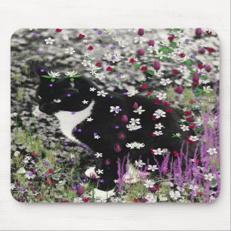 Freckles in Flowers I - Black and White Tux Cat Mouse Pads
