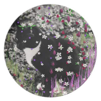 Freckles in Flowers I - Black White Tuxedo Kitty Party Plates