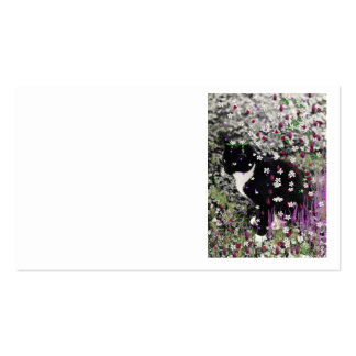 Freckles in Flowers I - Tux Cat Business Card Template
