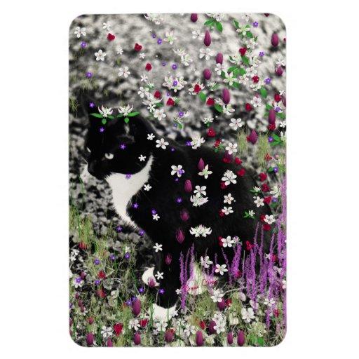 Freckles in Flowers I - Tux Kitty Cat Rectangular Magnet