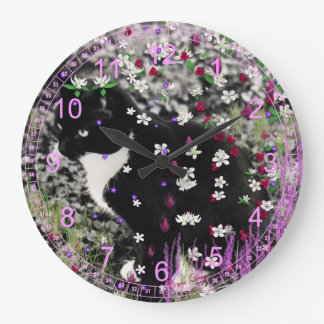 Freckles in Flowers I - Tuxedo Kitty Cat Wall Clock