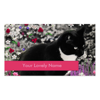 Freckles in Flowers II, Black and White Cat Pack Of Standard Business Cards