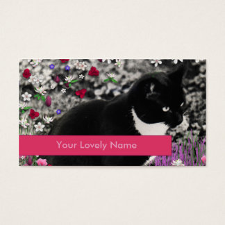 Freckles in Flowers II, Black and White Cat Business Card