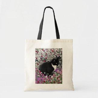 Freckles in Flowers II - Black and White Kitty Cat Budget Tote Bag