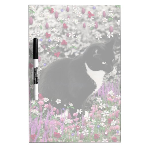 Freckles in Flowers II - Black and White Tux Cat Dry-Erase Whiteboard