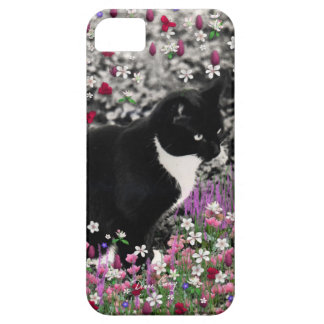 Freckles in Flowers II - Black and White Tux Cat iPhone 5 Cases