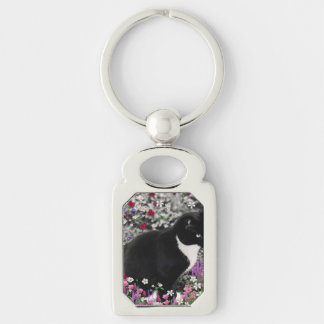 Freckles in Flowers II, Black and White Tuxedo Cat Silver-Colored Rectangular Metal Keychain