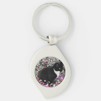 Freckles in Flowers II, Black and White Tuxedo Cat Silver-Colored Swirl Key Ring