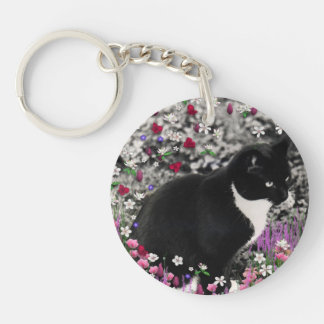 Freckles in Flowers II - Black White Tux Kitty Cat Double-Sided Round Acrylic Key Ring