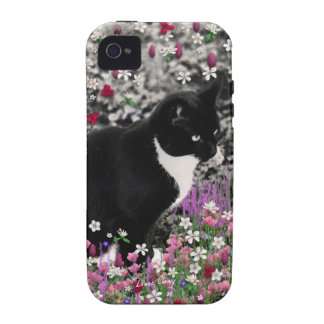 Freckles in Flowers II - Black White Tuxedo Cat iPhone 4/4S Covers