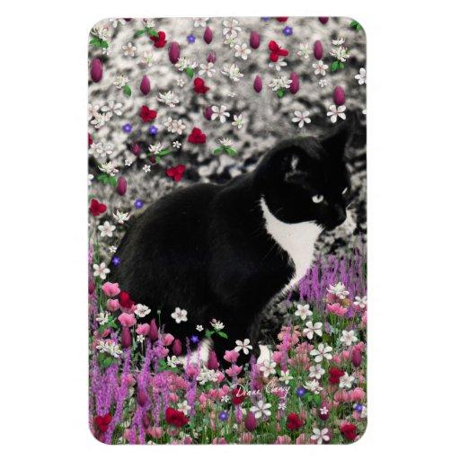 Freckles in Flowers II - Black White Tuxedo Cat Magnet