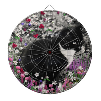 Freckles in Flowers II - Tux Cat Dartboard With Darts