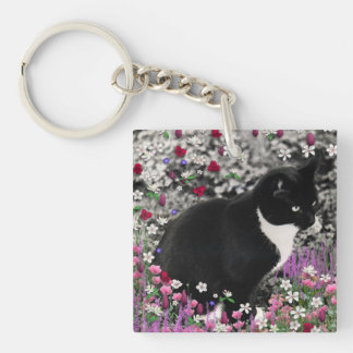 Freckles in Flowers II - Tux Kitty Cat Double-Sided Square Acrylic Key Ring