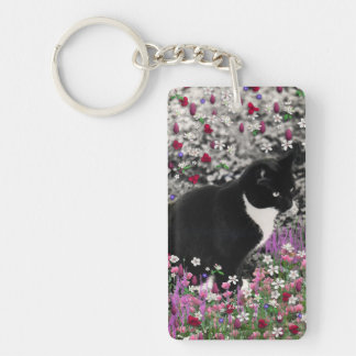 Freckles in Flowers II - Tux Kitty Cat Key Ring