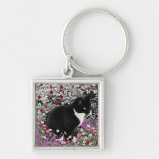 Freckles in Flowers II - Tux Kitty Cat Silver-Colored Square Key Ring
