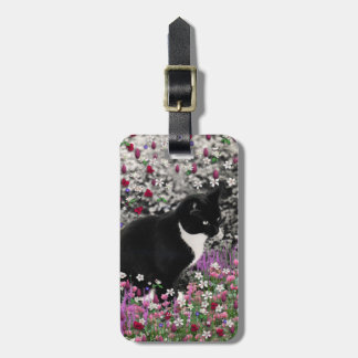 Freckles in Flowers II - Tux Kitty Cat Travel Bag Tags