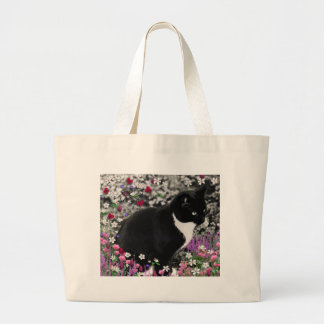 Freckles in Flowers II - Tuxedo Cat Tote Bags