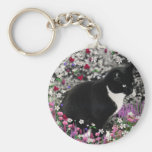 Freckles in Flowers II - Tuxedo Cat Basic Round Button Key Ring